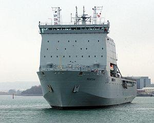 Bay-class landing ship - Image: RFA Mounts Bay, a Landing Ship Dock (Auxiliary) (LSD(A)), leaving Portsmouth Dockyard MOD 45145830
