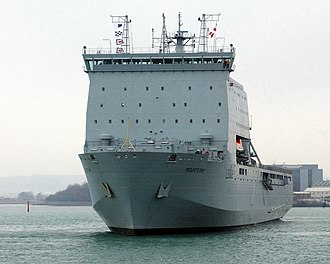 Bay-class landing ship - Image: RFA Mounts Bay, a Landing Ship Dock (Auxiliary) (LSD(A)), leaving Portsmouth Dockyard MOD 45145830