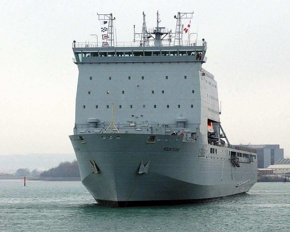 RFA Mounts Bay, a Landing Ship Dock (Auxiliary) (LSD(A)), leaving Portsmouth Dockyard MOD 45145830