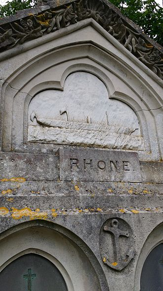 RMS Rhone - Detail of the Bas Relief illustration of the RMS Rhone from the memorial in Southampton Old Cemetery