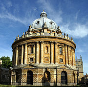 The Radcliffe Camera, built 1737-1749, holds books from the Bodleian Library's English, History, and Theology collections