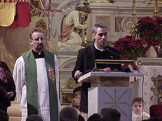 Basilica of St. Hyacinth - Rahm Emanuel speaking at St. Hyacinth Basilica.
