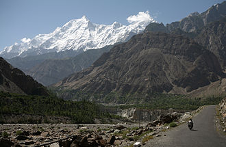 Hunza Valley - Hunza Valley near Chalt and the west face of Rakaposhi