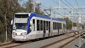 Trams in The Hague - RegioCitadis of RandstadRail for the tramlines 3, 4 en 19 at Station Seghwaert.