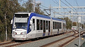 Trams in The Hague - RegioCitadis of RandstadRail for the tramlines 3, 4 en 19 at Station Seghwaert.