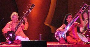 English: Ravi Shankar with Anoushka Shankar at...