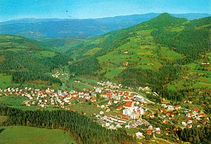 Mežica - 1968 postcard of Mežice