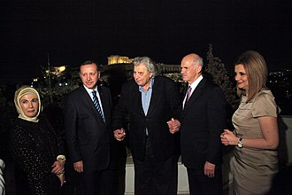 Greek–Turkish relations - Turkish prime minister Recep Tayyip Erdoğan, Greek composer Mikis Theodorakis and Greek prime minister George Papandreou in Athens, May 2010