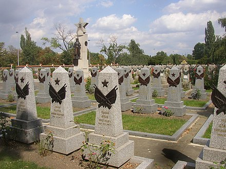 Olsany Cemetery in Prague: Honorary burial site of Soviet soldiers fallen during the battle of the city. Red Army section Olsany Cemetery Prague CZ 056.jpg