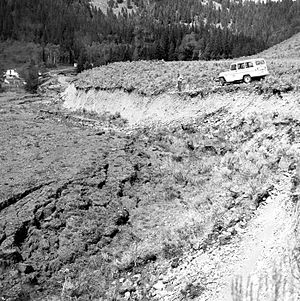 Fault scarp - This fault scarp was created by the 1959 Hebgen Lake earthquake.  Photo taken August 19, 1959.
