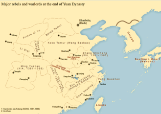 Red Turban Rebellion - Distribution of major branches of Red Turban forces and Yuan warlords