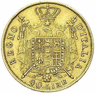 Coat of arms of Napoleonic Italy - Image: Regno d'Italia 40 lire 1812