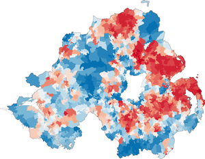 Religion in Northern Ireland - Map of religion or religion brought up in from the 2011 census in Northern Ireland. Stronger blue indicates a higher proportion of Catholics. Stronger red indicates a higher proportion of Protestants and Other Christians.