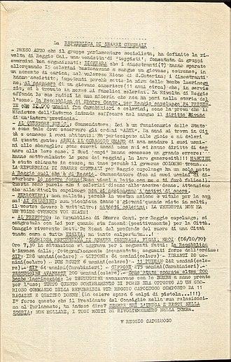 Reggio revolt - Typed proclamation of the Sbarre Central Republic