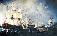 Rescate del navío de línea Santisima Trinidad por el navío Infante don Pelayo en el combate del cabo de San Vicente en 1797