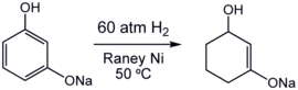 Partial hydrogenation of an resorcinol using a Raney-Nickel catalyst.