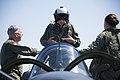 "Retired Cmdr. Dean ""Diz"" Laird stands in the rear seat of a T-34C Turbomentor (28101291662).jpg"