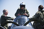 "Retired Cmdr. Dean ""Diz"" Laird stands in the rear seat of a T-34C Turbomentor (28101291662).jpg"