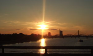 Daugava sunset in Riga.