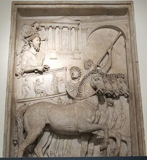 Quadriga - Marcus Aurelius celebrating his Roman triumph in 176 AD over the enemies of the Marcomannic Wars, from his now destroyed triumphal arch in Rome, Capitoline Museums, 176-180 AD
