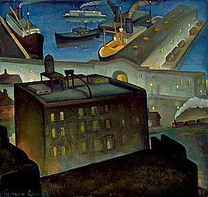 Rinaldo Cuneo - The Embarcadero at Night, circa 1927-1928, Los Angeles County Museum of Art