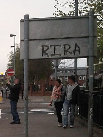 Real Irish Republican Army - Real IRA graffiti on a road sign in Derry, 2012