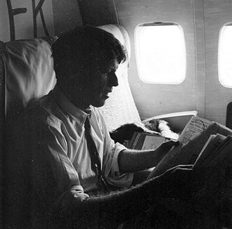 Robert F. Kennedy presidential campaign, 1968 - Kennedy on a campaign plane (photo by Evan Freed)