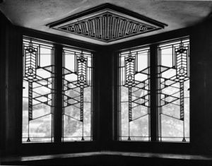 Interior architecture - Window was designed by architect, Frank Lloyd Wright for the Robie House.