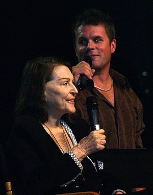Majel Barrett - Barrett and son Rod in 2008