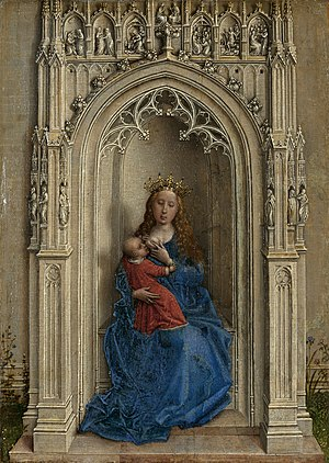 Virgin and Child Enthroned - Image: Rogier van der Weyden Virgin and Child Enthroned Museo Thyssen Bornemisza 435