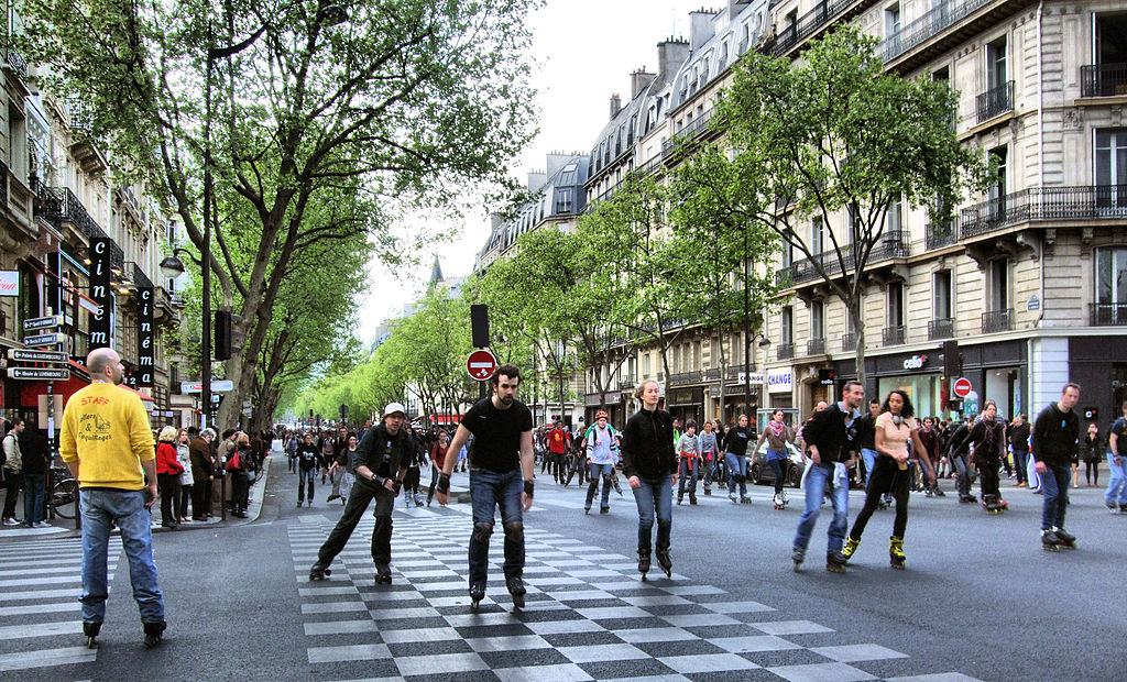 Roller Skate Race In The Boulevard Saint-Germain, Paris April 2014