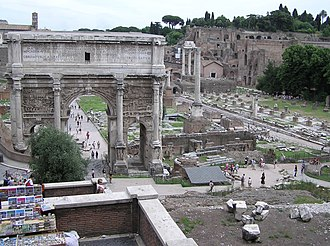 Cato the Elder - Part of the Roman Forum. The arch was erected by Septimius Severus.