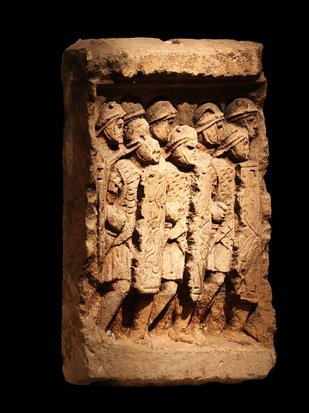Imperial Roman legionaries in tight formation, a relief from Glanum, a Roman town in what is now southern France that was inhabited from 27 BC to 260 AD (when it was sacked by invading Alemanni) Roman Legionaries-MGR Lyon-IMG 1050.JPG
