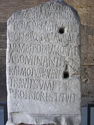 """Latin inscription, in the <a href=""""http://search.lycos.com/web/?_z=0&amp;q=%22Colosseum%22"""">Colosseum</a> of <a href=""""http://search.lycos.com/web/?_z=0&amp;q=%22Rome%22"""">Rome</a>, Italy"""