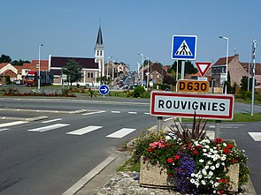 Rouvignies (Nord, Fr) city limit sign.JPG