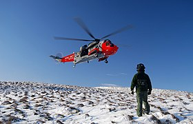 Royal Navy SAR Helicopter on Big Torry Hill, Ochils - geograph.org.uk - 1660779.jpg