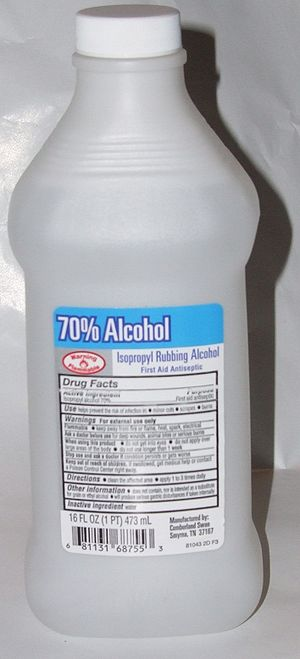 Rubbing alcohol - A bottle of isopropyl rubbing alcohol