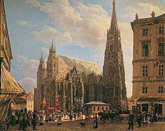 Rudolf von Alt - View of Stephansdom, from the Stock-im-Eisen, 1832