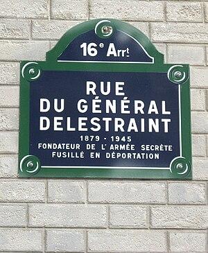 Charles Delestraint - Memorial plaque at the rue du Général-Delestraint, Paris 16e, France
