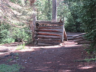 Log cabin - Ruins of log cabin at Rocky Mountain National Park on Colorado River Trail in Colorado.