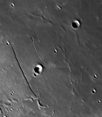 Birt (crater) - Image: Rupes Recta and Rima Birt