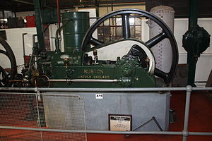 Anson Engine Museum - Ruston Hornsby 25 hp horizontal engine from the University of Sheffield, a model 6H built in 1927