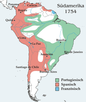 Spanish and Portuguese control of South America in 1754 CE. Sudamerika1754.png