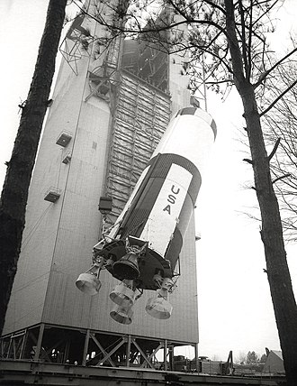 Saturn V Dynamic Test Vehicle - The first stage of this Saturn V is hoisted into position for a shake test at the Saturn V Dynamic Test Stand in 1966.