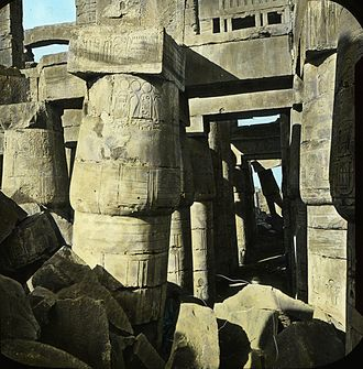 Great Hypostyle Hall - Egypt. Karnak. Great Hall., n.d., This slide colored by Joseph Hawkes. Brooklyn Museum Archives.