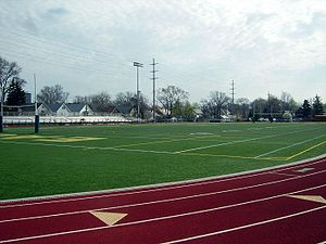 St. Edward High School (Ohio) - Coughlin Field.  Home varsity football games are played at Lakewood High School, but most other field sports use this facility.