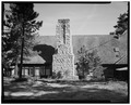 SOUTH EXTERIOR VIEW OF RECREATION ROOM, CHIMNEY AND DOORWAYS - Bryce Canyon Lodge, Bryce Canyon, Garfield County, UT HABS UTAH,9-BRYCA,1-12.tif