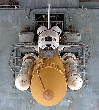 Shuttle–Mir Program - An overhead view of Atlantis as it sits atop the Mobile Launcher Platform (MLP) before STS-79