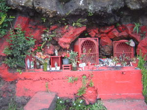 Expeditus - Roadside altars dedicated to Saint Expédit are common in Réunion and always painted red.