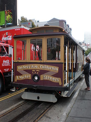 San Francisco cable car no. 57 at the stop at ...